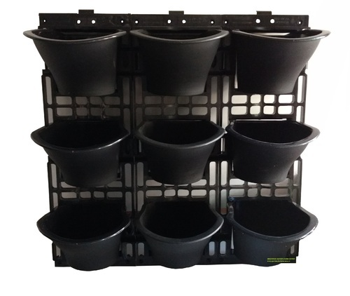 Exceptional Black And Light Sky Blue Vertical Garden Pots