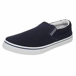 White and Navy Blue Men Boys Canvas Shoes, Size: 6 to 9