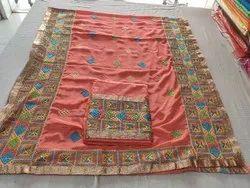 Chanderi Unstitched Phulkar Jaam Silk Suits