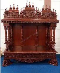 Teak Wood Brown Designed Wooden Pooja, For Home