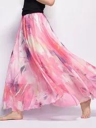 Ladies Floral Printed Long Skirt