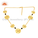 Black Onyx Gemstone Set Gold Plated Silver 925 Necklace Jewellery