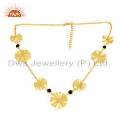 18k Yellow Gold Plated Silver Black Onyx Wavy Disc Necklaces