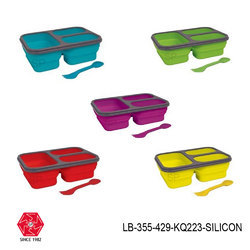 Silicon Lunch Box Collapsible Meal Kit of 3 Compartment -LB-355