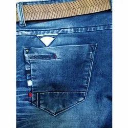 Men Comfort Fit Silky Dark Blue Washable Jeans, Waist Size: 28-36