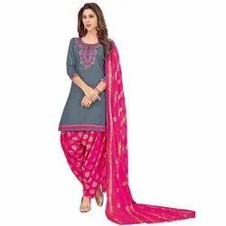 Party Wear Gold Zari Cotton Patiala Salwar, Waist Size: Free