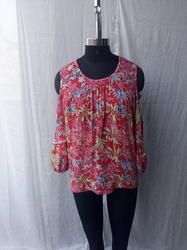 sk Red Mill Printed Cotton Crap With Stylish Bell Sleeve Blouse, Ladies