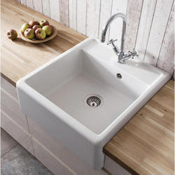 Single Table Top White Ceramic Kitchen Sink, Finish Type: Glossy, For Home, Hotel