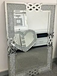 Designer Crushed Style Wall Mirror with Crystal Shiny Silver by Venetian Image