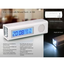 3 In 1 Clock With FM And Torch