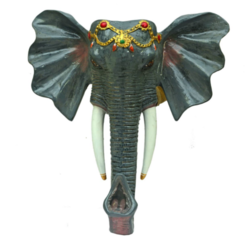 Grey Color Stunning Elephant Face Wall Mount