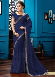 Decorous Navy Blue Lehenga Saree