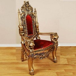 Antique Golden Wooden Maharaja Chair, Seating Capacity: Single Seater