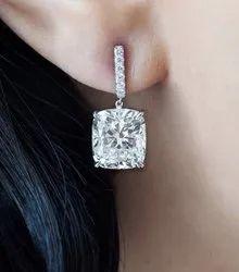 Cushion Moissanite Diamond Earrings