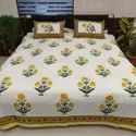 Floral Mugal Buta Jaipuri Printed Cotton Double Bed Sheet