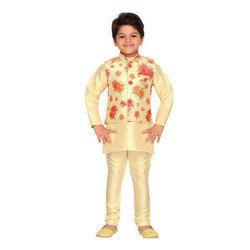 Cream Raw Silk Kids Kurta Pyjama Waistcoat Set