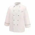 White Chef Coat W Oblique Piping