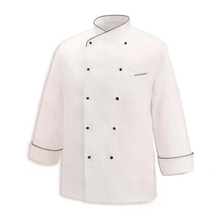 White Chef Coat W Oblique Piping