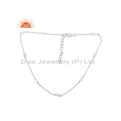 CZ Gemstone Charm Design 925 Silver Women's Necklace