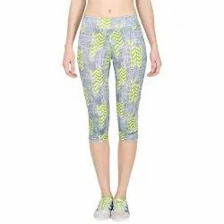 Onesport Polyester Spandex Jersey Grey and Yellow Slim Fit Sports Capri