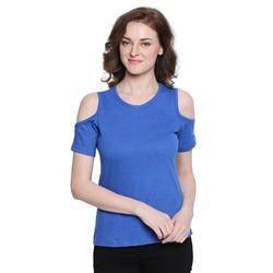 Ladies Cut Shoulder Blue Top