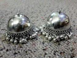 Silver Jhumki, Shape: Round