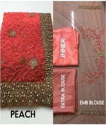 Net Bridal Wear Desgner HANDWORK EMBROIDERY Sarees, 5.5 m (separate blouse piece), Without blouse piece