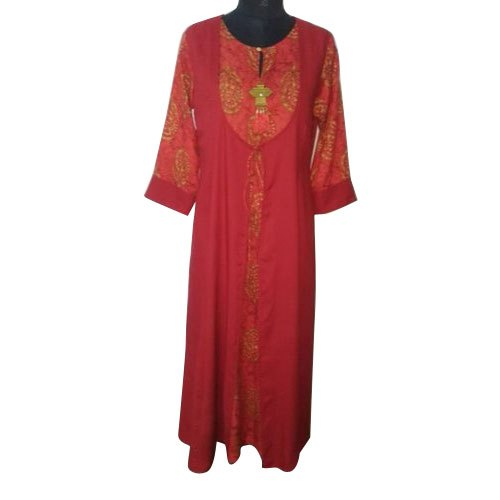 Cotton Casual Wear Ladies Embroidered Designer Kurti, Size: S-XL