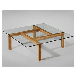 Brown Wooden Coffee Table with Glass Top