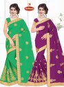 Dyed Chiffon Embroidery Saree - Baazigar 06