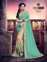 Indian Women Green And Off White Chiffon And Georgette Saree