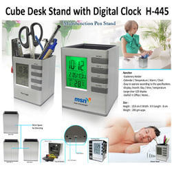 Cube Desk Stand With Digital Clock H-445