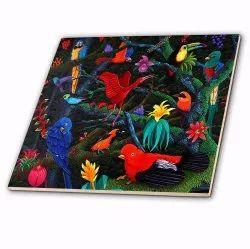 Rainforest Birds Ceramic Tile 12Inch