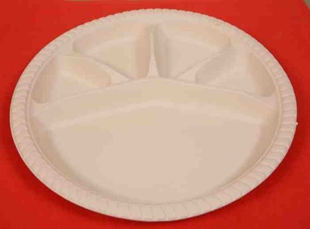 12  Biodegradable 5 Compartment Plate & 12