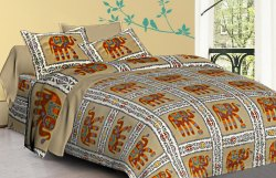 Elephant Printed Cotton Double Bed Sheet