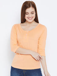 100% Cotton Women's Half Sleeve Peach Colour T-Shirt