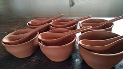 Brown Round Red Clay Soup Bowl Set, Capacity: 200 mL