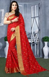 Red Heavy Resham Embroidered Saree