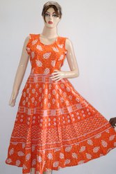 Ladies Orange Jaipuri Print Frock