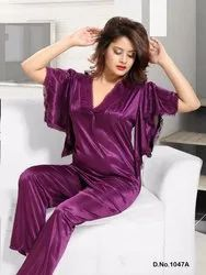 Satin Butterfly Night Suit