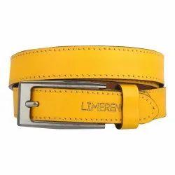 Women Yellow Leather Belt