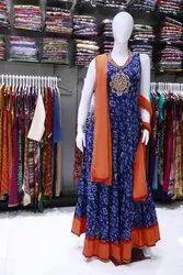 Cotton Blue, Orange Sleeveless Printed Anarkali Suit