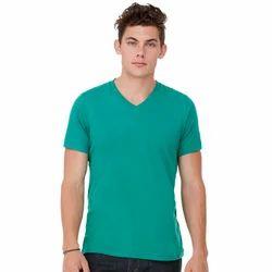Mens Green V Neck Plain T-Shirt