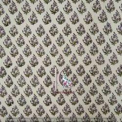Multi Natural Color Floral Cotton Fabric Bagru, Sanganeri Printed