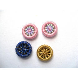 Blue And Golden Round Thread Buttons