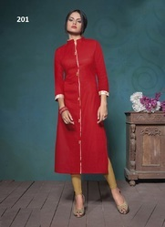 Khadi Cotton Plain Casual Wear Kurti