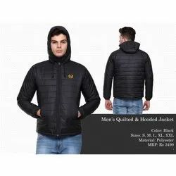 Mens Black Quilted and Hooded Jacket