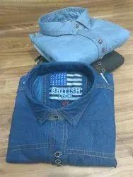 Own Brand Full Sleevs Denim Shirts Plain, Size: M L Xl And Xxl