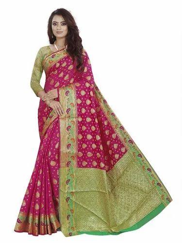 63feb47cb27131 Rivana Woven Beautiful Designer Banarasi Silk Saree With Blouse Piece