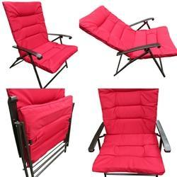 Folding Reclining Chair-Padded-Red